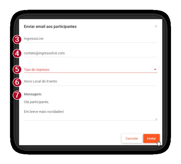 Preencha todos os campos e divulgue seu evento por e-mail